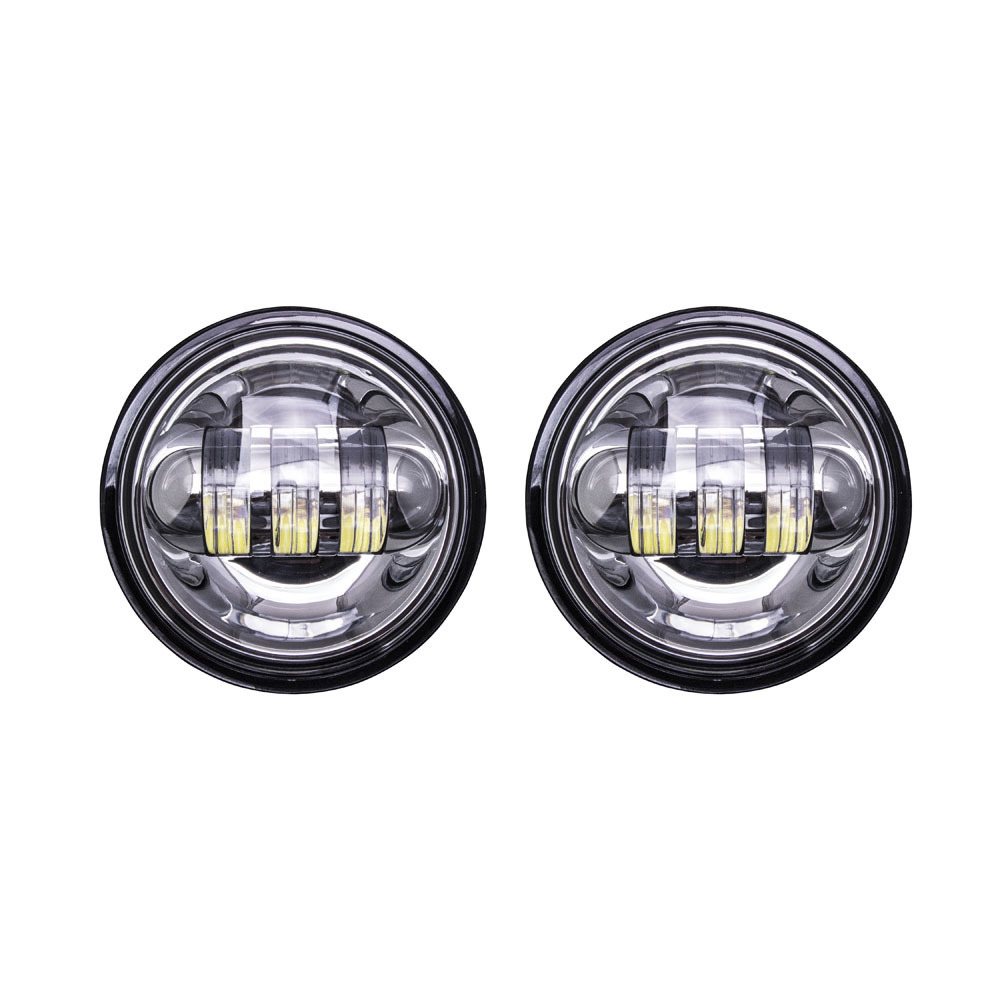 Motorcycle Auxiliary Lights with Silver Face - 4.5 Inch, 6 LED, Pair