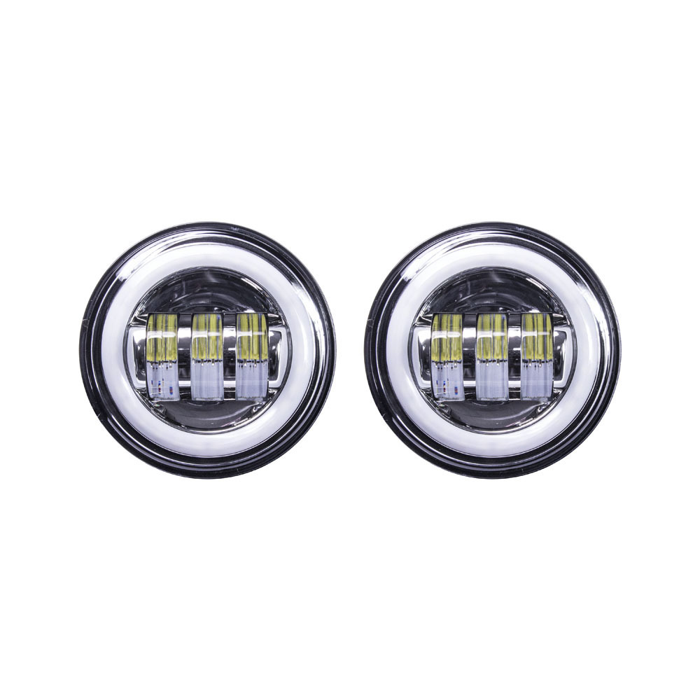 Motorcycle Auxiliary Lights with Silver Face and Full Halo - 4.5 Inch, 6 LED, Pair
