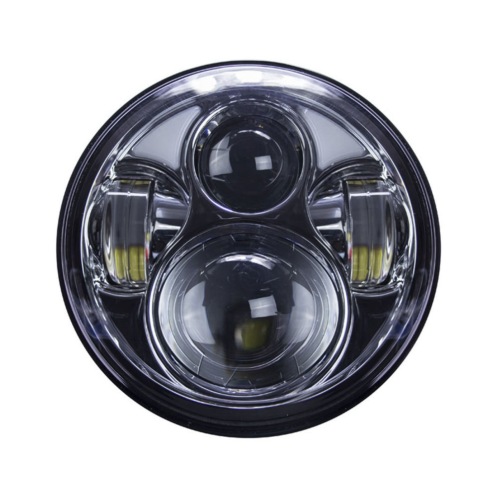 Round Motorcycle Headlights with Silver Face and Partial Halo - 5.6 Inch, 8 LED
