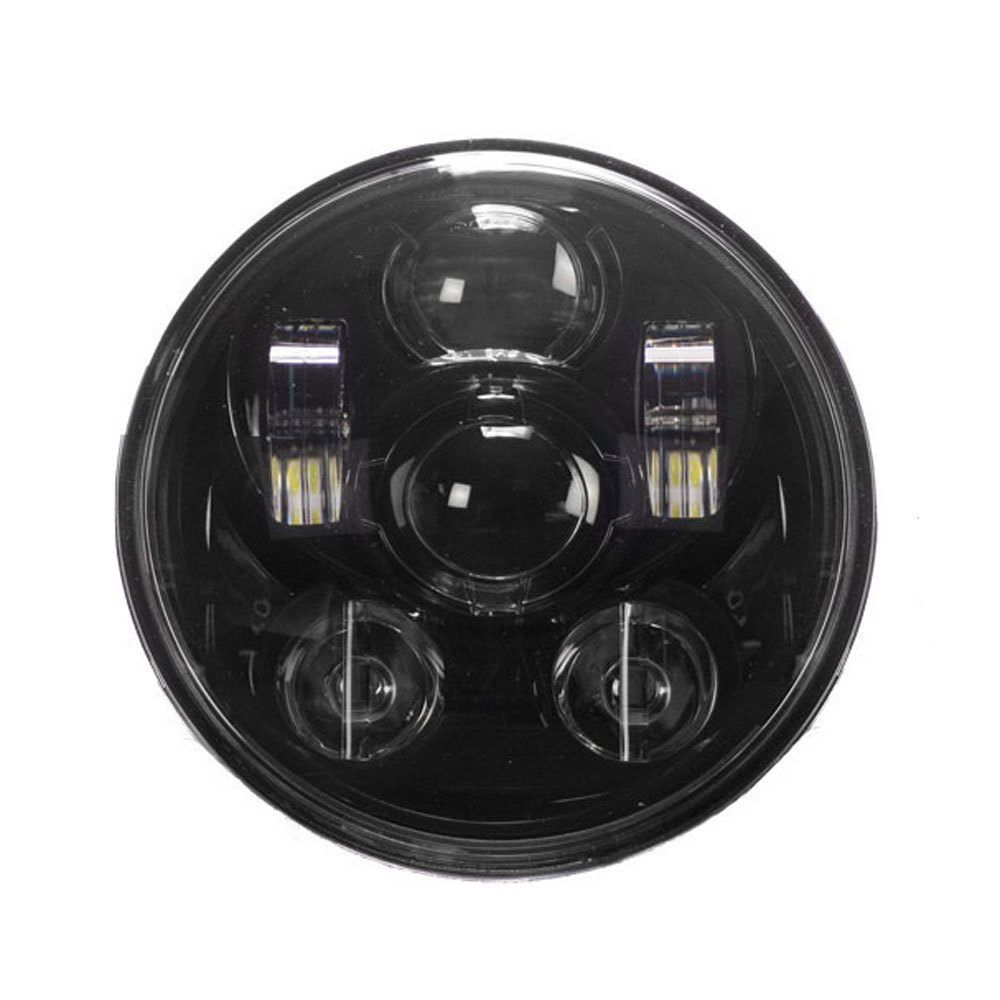 Round Motorcycle Headlights with Black Face - 5.6 Inch