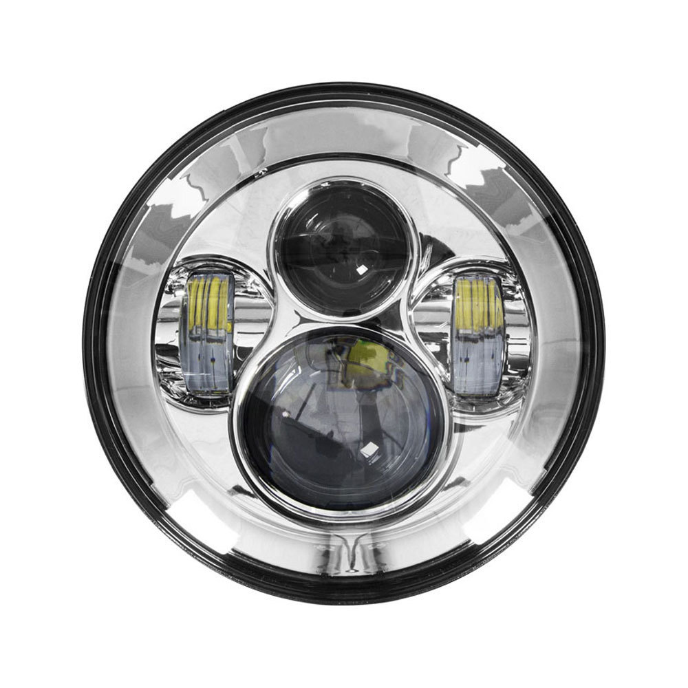 Round Motorcycle Headlights with Silver Face - 7 Inch
