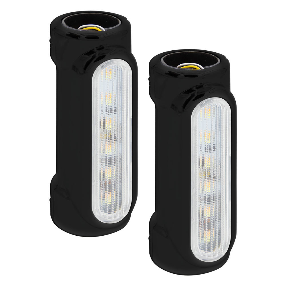 Amber/White Highway Bar Switchback Lights with Black Housing - 1.25 Inch