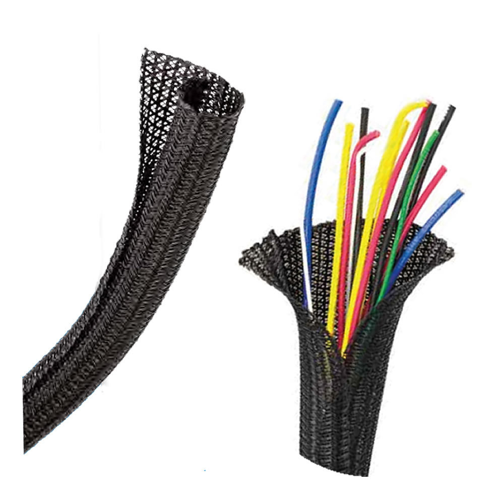 2in Self-Wrapping Split Braid Sleeving Black - 25ft