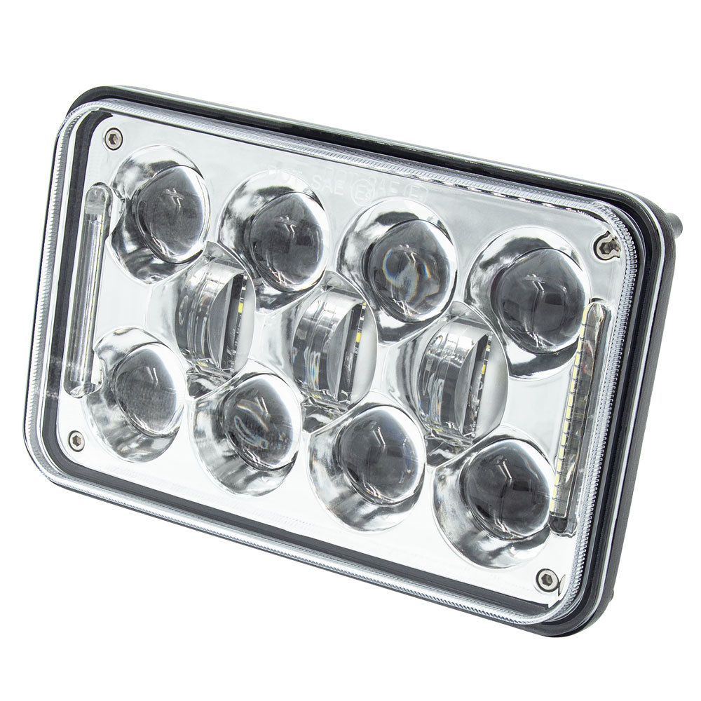 Vehicle Headlights with Silver Front Face - 4x6 Inch, 18 LED