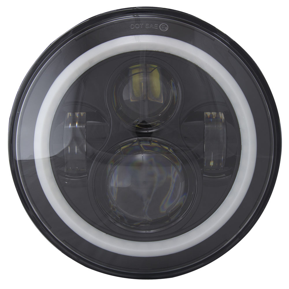 Round Motorcycle Headlight with Black Face and RGB Angel Eye Halo - 7 Inch, 6-LED