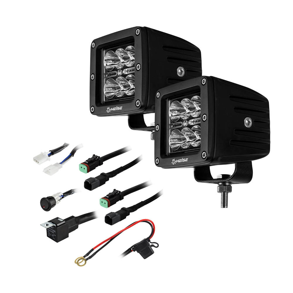 Cube Spot Light - 3 Inch, 6 LED, 2-Pack with Harness