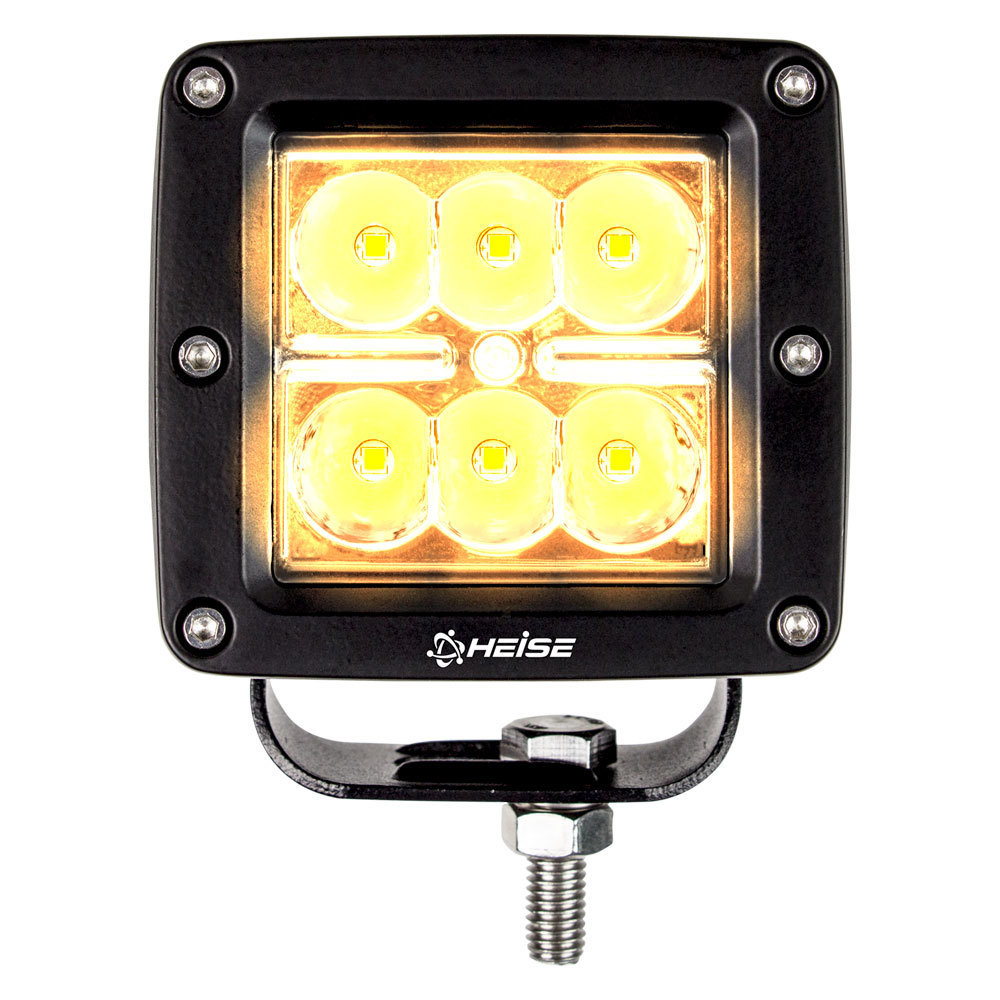 Amber Cube Spot Light - 3 Inch, 6 LED