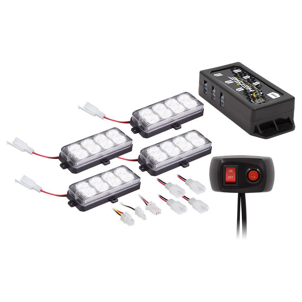 White Grille Strobe Kit - 8 LED, 4-Pack