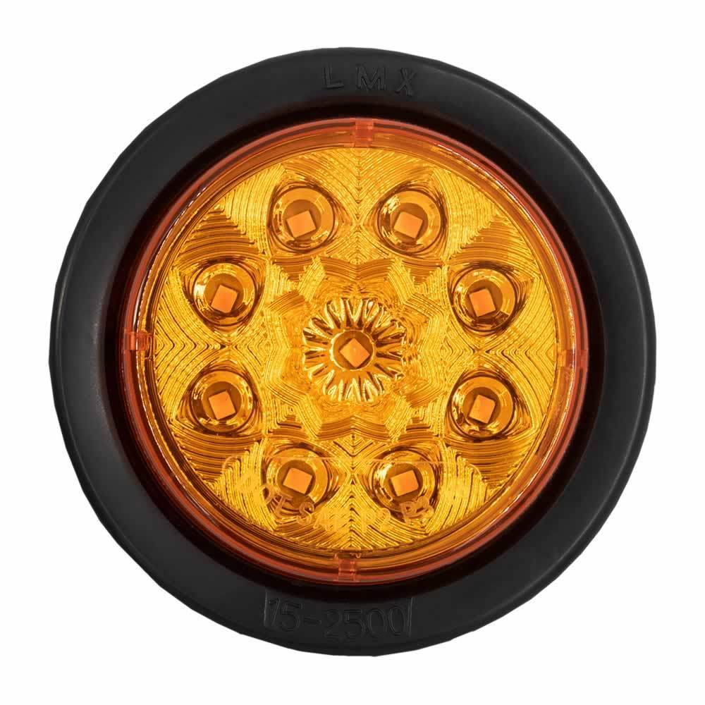 Round Amber Marker/Clearance Light with Grommet - 2.5 Inch, 9 LED