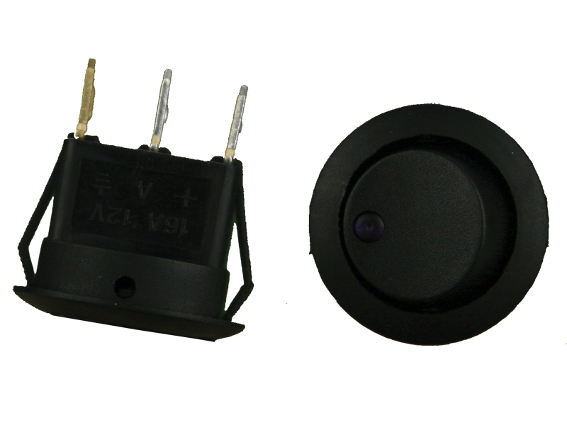Round Rocker Switch Purple Led No Leads 20amp- Pack of 5