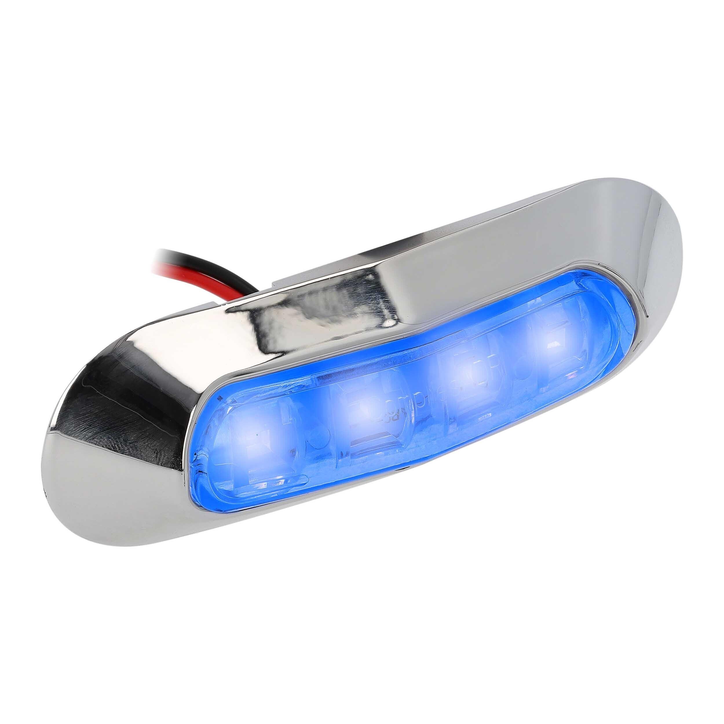 Blue 4-LED Accent Light - Chrome Plastic Bezel
