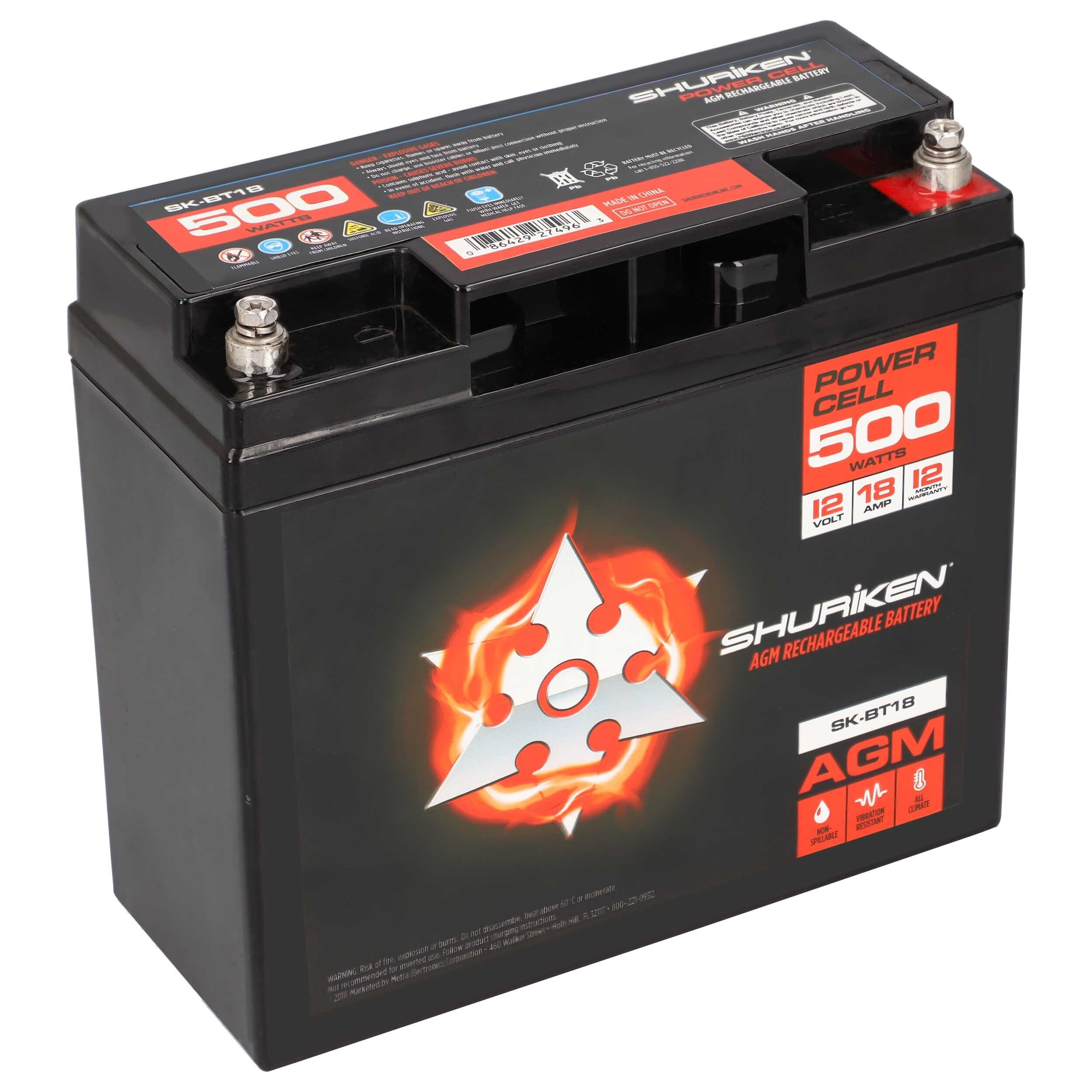500W 18AMP Hours Compact Size AGM 12V Battery