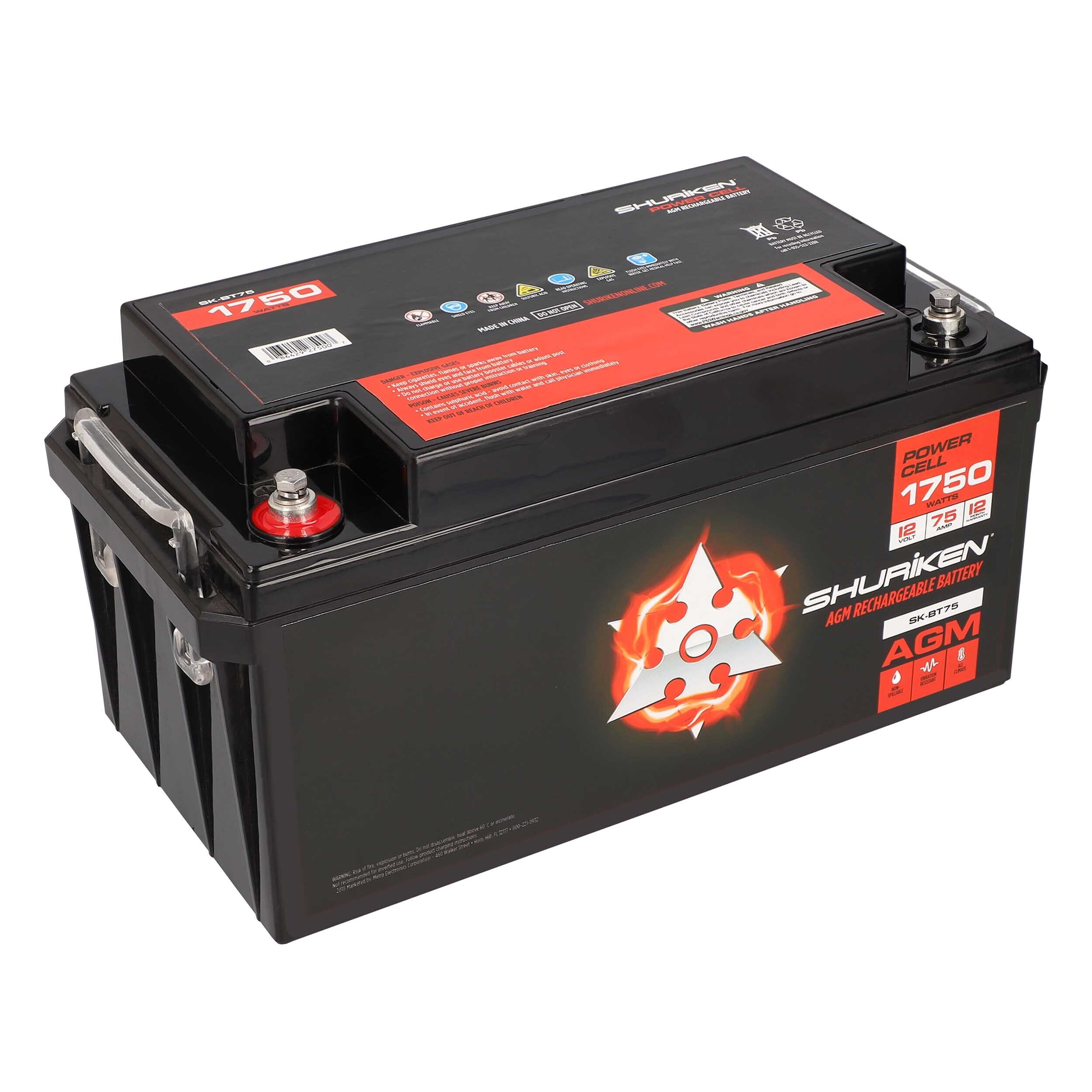 1750W 75AMP Hours Large Size AGM 12V Battery