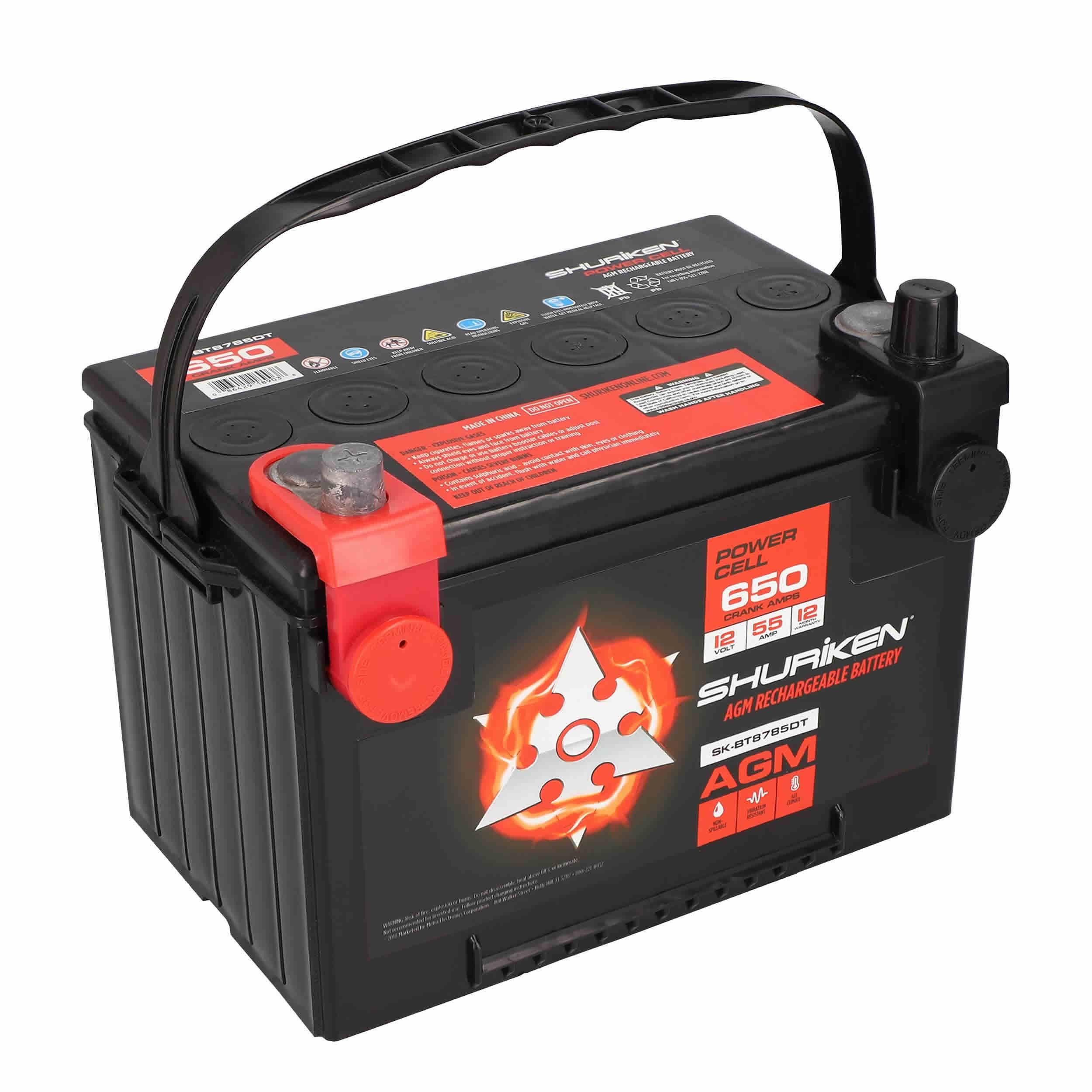 650W 55AMP Compact Dual Post AGM Battery
