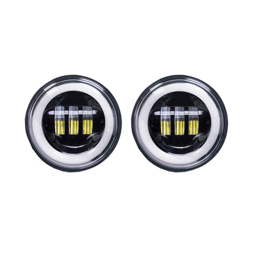 Motorcycle Auxiliary Lights with Black Face and Full Halo - 4.5 Inch, 6 LED, Pair