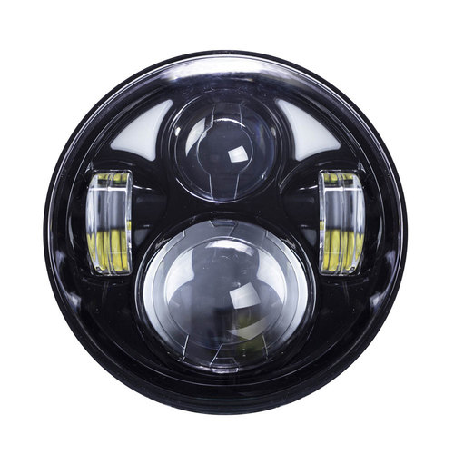 Round Motorcycle Headlights with Black Face and Partial Halo - 5.6 Inch, 8 LED