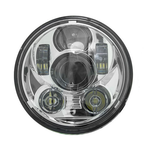 Silver Round Motorcycle Headlights - 5.6 Inch