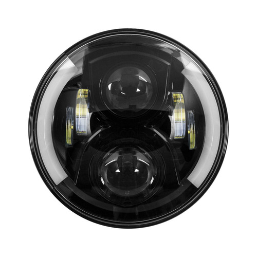 Round Motorcycle Headlights with Black Face and Partial Halo - 7 Inch