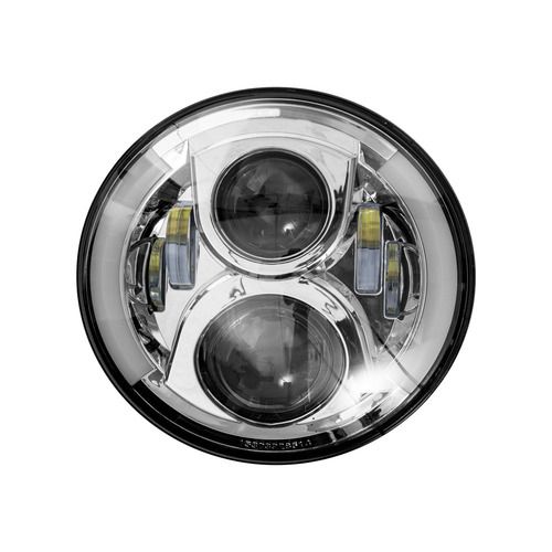 Round Motorcycle Headlights w/ Silver Face and Partial Halo - 7 Inch