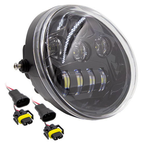 Oblong Oval Motorcycle Light with Black Front Face - 7 Inch, 8 LED