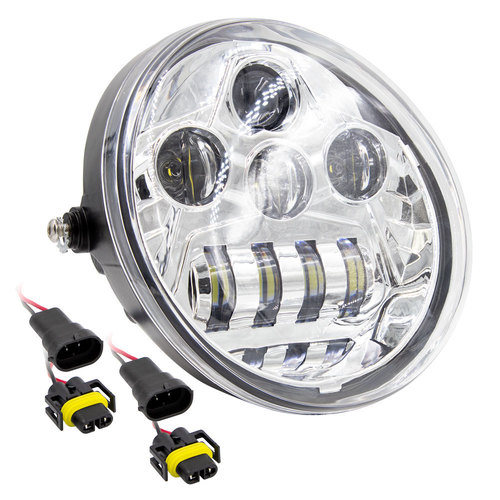 7 In 8 LED Oblong Oval Motorcycle Light - Chrome Front Face