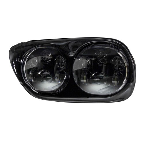 Dual Round Motorcycle Headlights with Black Face - 5.6 Inch