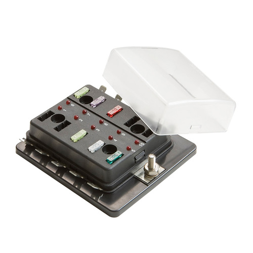 Fuse Block With Indicating LEDs - 10 Position