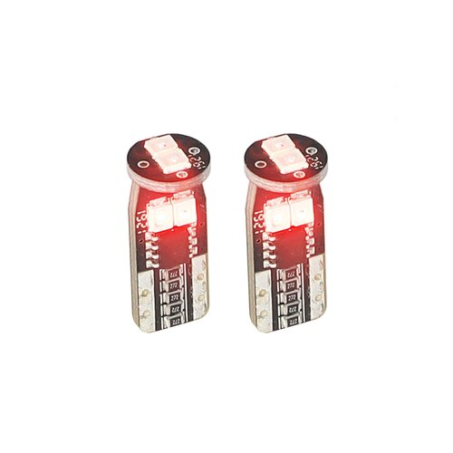 T10 Red LED Bulbs with Integrated Internal CANBUS System - 2-Pack