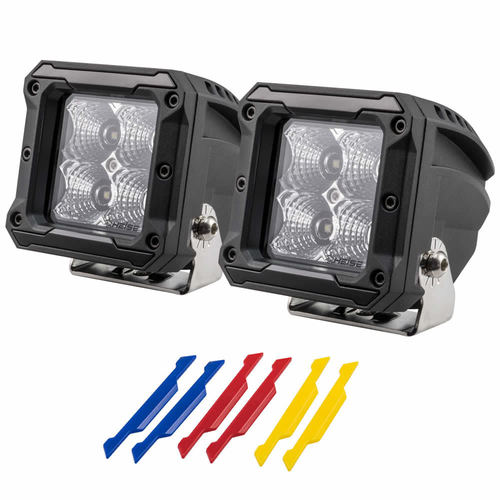 High Output Cube Light - 3 Inch, 4 LED, 2-Pack with Harness
