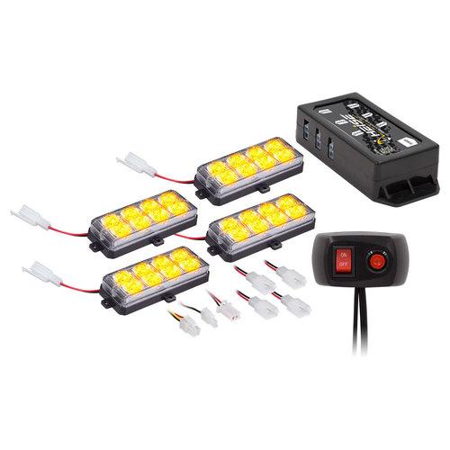 Amber Grille Strobe Kit - 8 LED, 4-Pack