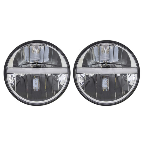 7 In Round 2 LED Headlight Set  - Black Front Face