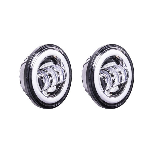 Motorcycle Headlights with Silver Face and Halo Ring - 4.5 Inch, 6 LED, Pair