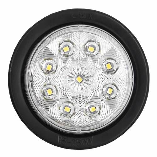 Round White Marker/Clearance Light with Grommet - 2.5 Inch, 9 LED