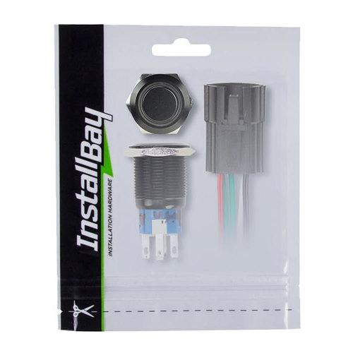 16MM Black Round Switch W/Latch & Harness - Green