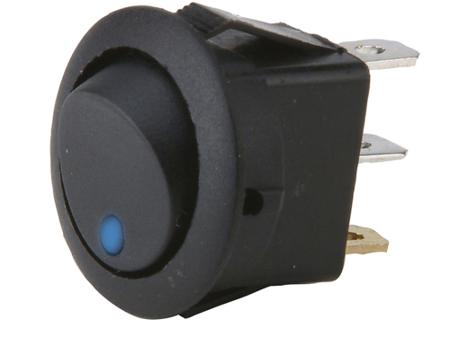 Round Rocker Switch With Blue Led No Leads 20amp - Pack of 5