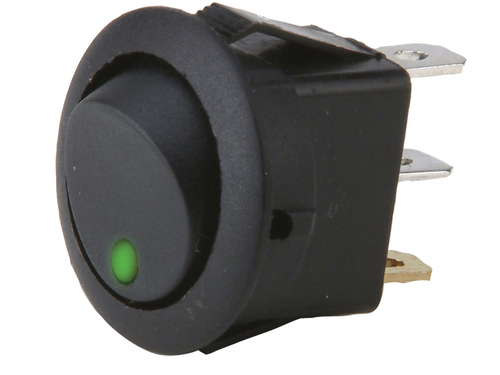 Round Rocker Switch  Green Led No Leads 20amp -  Pack of 5