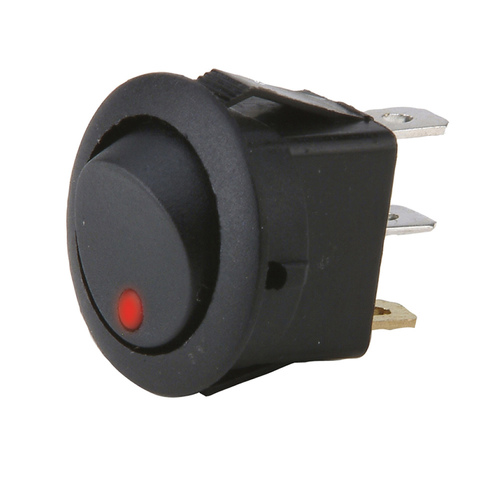 Round Rocker Switch With Red Led No Leads 20amp - Pack of 5