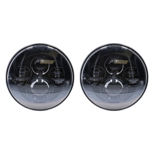 Headlights with Black Face - 7 Inch, 9 LED