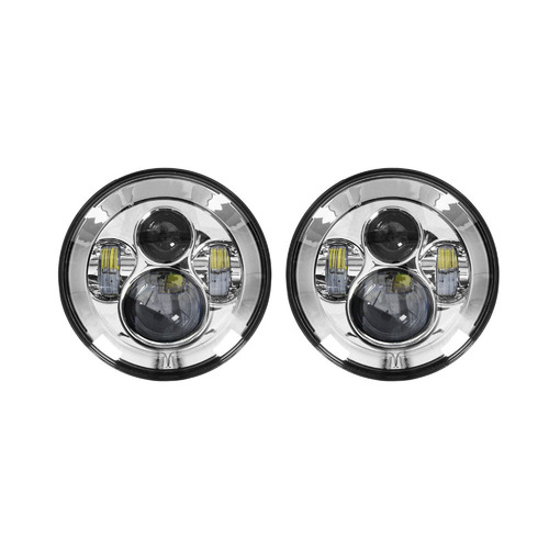 Headlights with Silver Face - 7 Inch, 9 LED
