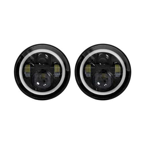 Headlights with Black Face and Full Halo - 7 Inch, 9 LED