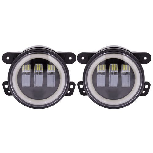 Fog Lights with Black Face and Full Halo - 4 Inch, 6 LED