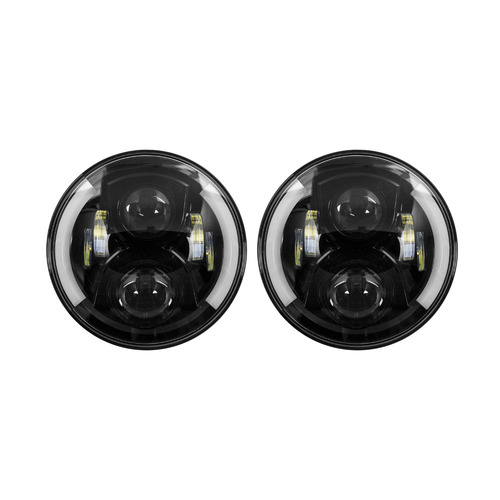 Headlights with Black Face and Partial Halo - 7 Inch, 6 LED