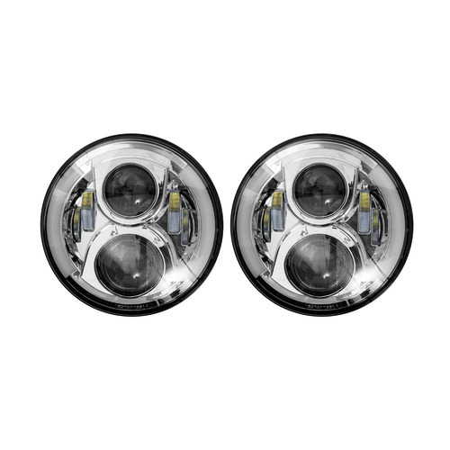 """7"""" LED Light with Silver Face and Partial Halo, 7 Inch 6 LED"""