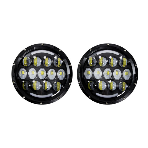 Headlights with Black Face and Partial Halo - 7 Inch, 21 LED