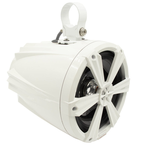 Tower Speakers with RGB Lights and White Housing - 8 Inch, Pair