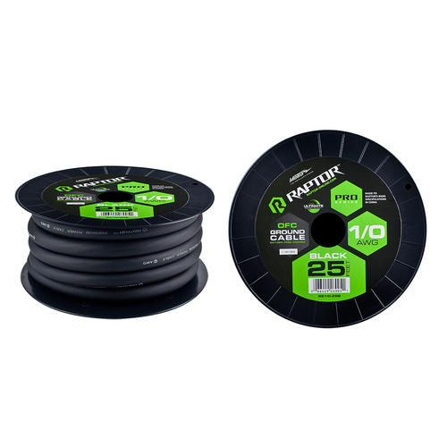 25 ft 1/0 AWG BLACK PRO-SERIES OFC POWER CABLE