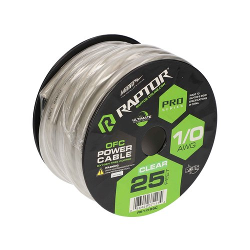 25ft 1/0 AWG Oxygen Free Copper - Clear - Pro Series