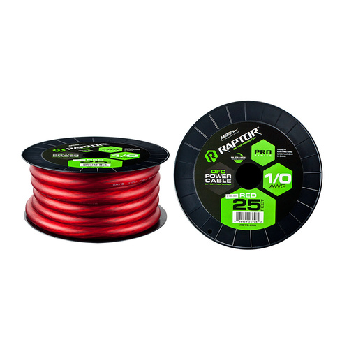 25ft 1/0 AWG RED PRO-SERIES OFC POWER CABLE
