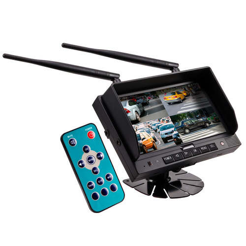 Commercial 7 Inch Wireless Monitor with Quad Output + DVR