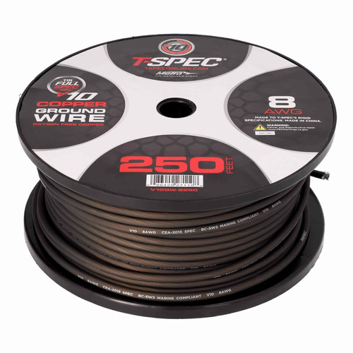 8 AWG 250FT MATTE BLACK OFC POWER WIRE - v10 SERIES
